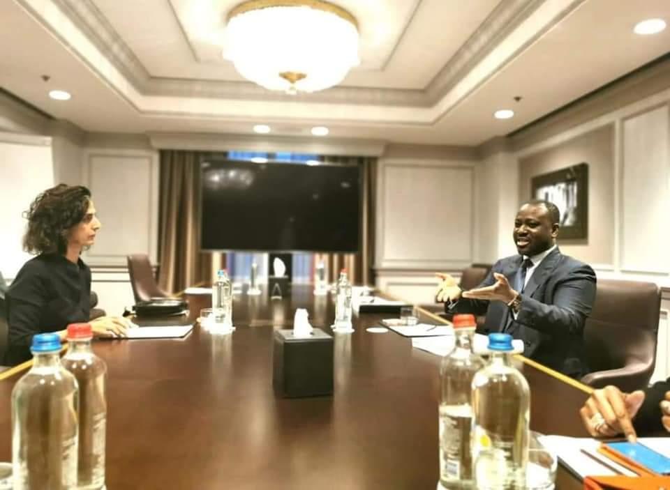 GUILLAUME SORO a échangé avec Mme Marie Arena Présidente de la SCDH du parlement Européen (photos)